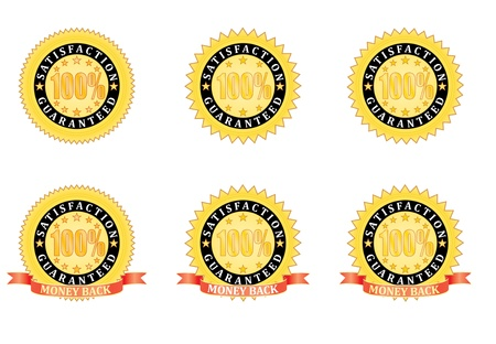 set of Satisfaction Guaranteed signs  illustration Vector