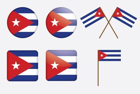cuban flag: set of badges with flag of Cuba vector illustration