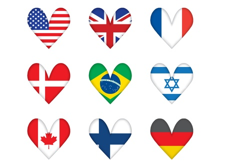 set of heart-shaped flags vector illustration Stock Vector - 14569230