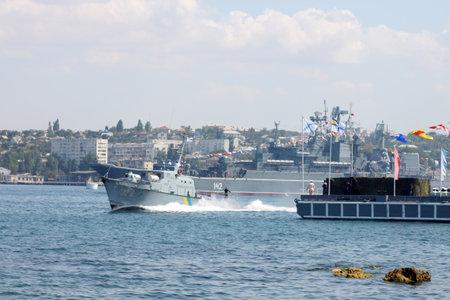 Sevastopol, Ukraine - July 29, 2012 - artillery boat U170 Skadovsk at Ukrainian Fleet Day and Day of Russian Navy