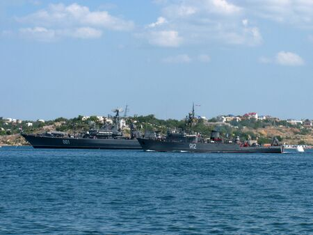 Sevastopol, Ukraine - July 29, 2012 - Seagoing Minesweeper Turbinist at Ukrainian Fleet Day and Day of Russian Navy Stock Photo - 14681664