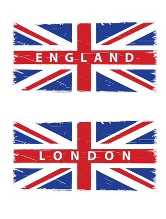 grunge union jack: grunge Union Jack flags with titles London and England