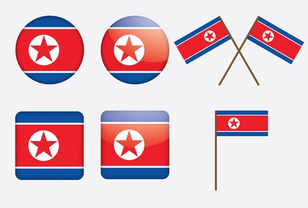 set of badges with flag of North Korea vector illustration Vector