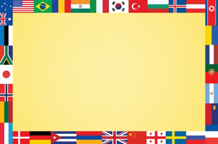 orange background with frame made of flags vector illustration Vector