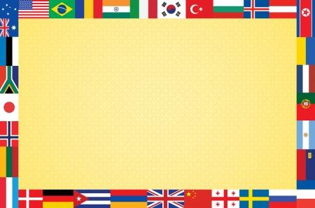 bandiere del mondo: sfondo arancione con struttura in illustrazione vettoriale bandiere