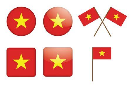 set of badges with Vietnam flag vector illustration Vector