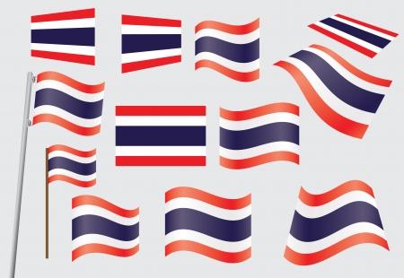 флагшток: набор флагов Королевства Таиланд векторных иллюстраций Иллюстрация