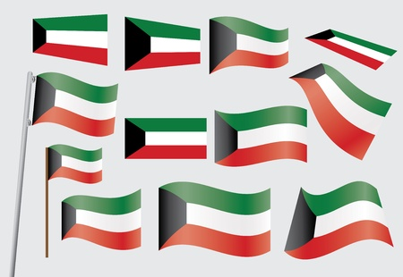 set of flags of Kuwait vector illustration Vector