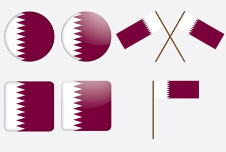 set of badges with flag of Qatar vector illustration Vector