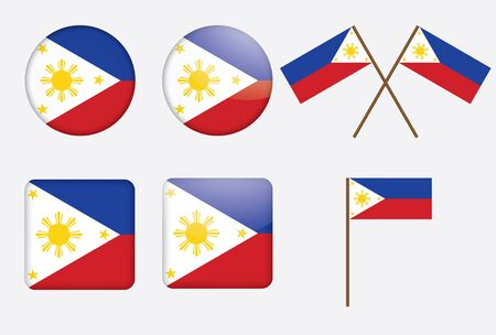 set of badges with flag of Philippines vector illustration