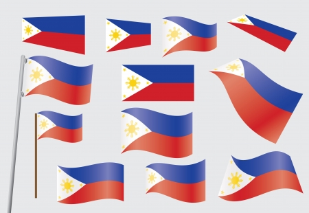 set of flags of Philippines vector illustration