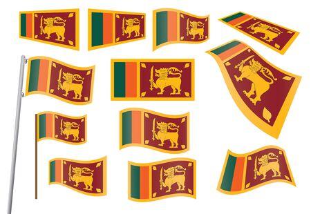 set of flags of Sri Lanka vector illustration Vector