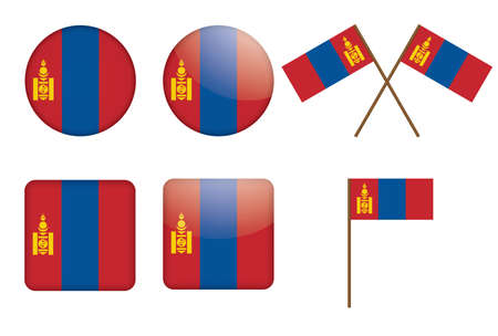 set of badges with flag of Mongolia vector illustration Vector