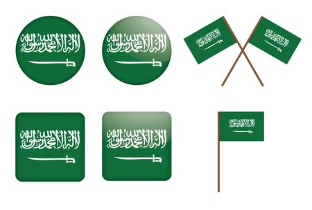 set of badges with flag of Saudi Arabia vector illustration Vector