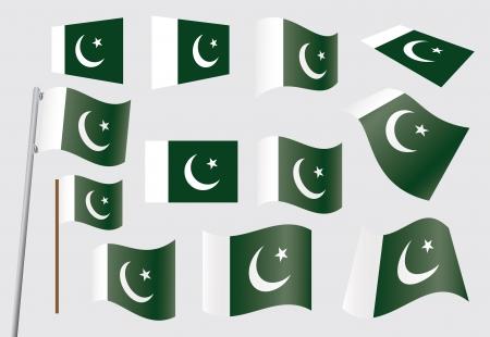 флагшток: Набор флагов иллюстрации Пакистан вектор