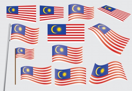 malaysia: set of flags of Malaysia vector illustration