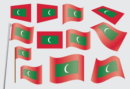 set of flags of Maldives vector illustration Stock Vector - 14796717