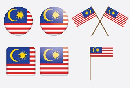 set of badges with flag of Malaysia vector illustration Vector