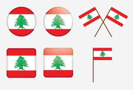 cedar tree: set of badges with flag of Lebanon vector illustration Illustration
