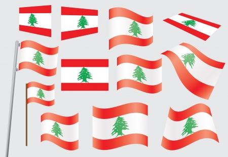 флагшток: набор флагов Ливана векторной иллюстрации