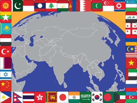 frame of Asian countries flags around the globe vector illustration