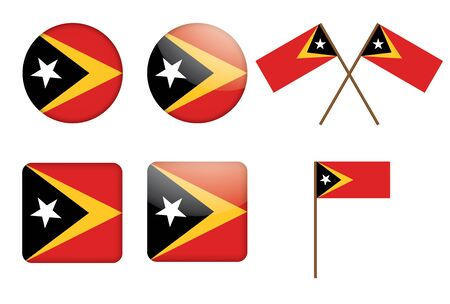 set of badges with flag of East Timor vector illustration Vector