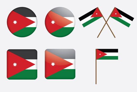 set of badges with flag of Jordan vector illustration Vector