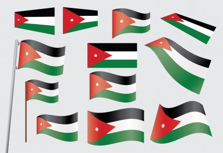 jordanian: set van vlaggen van Jordanië vector illustratie Stock Illustratie