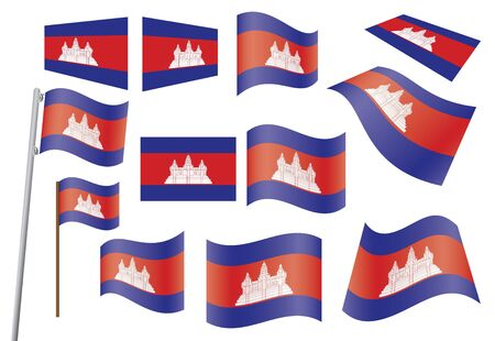 cambodian flag: set of flags of Cambodia vector illustration