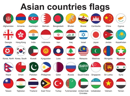 set of buttons with Asian countries flags  illustration