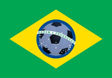 flag of Brazil with football  illustration