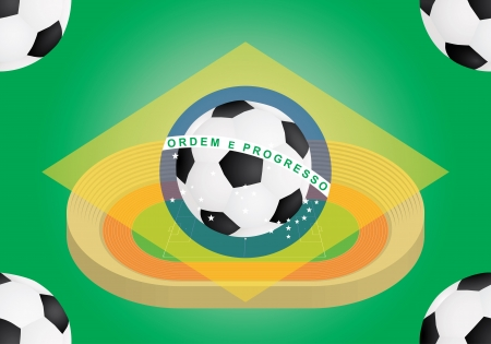 stadium and football over flag of Brazil illustration