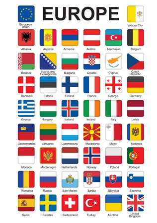 set of push buttons with flags of Europe  illustration Ilustração