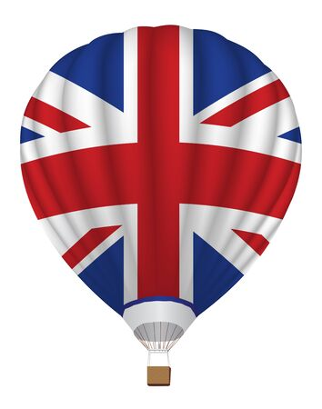 aerostat: airballoon with United Kingdom flag vector illustration