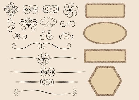 set of retro calligraphic design elements vector illustration Stock Vector - 14957772