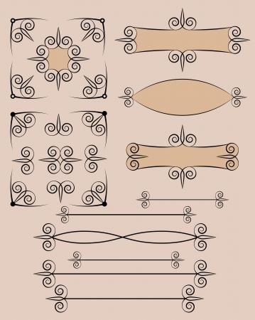 set of retro typographic design elements vector illustration Stock Vector - 14957761