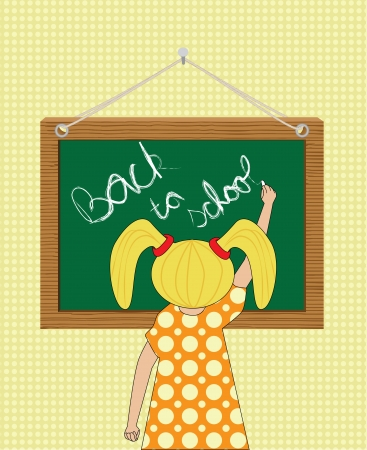 girl writing Back to school on a chalkboard vector illustration Stock Vector - 15047580