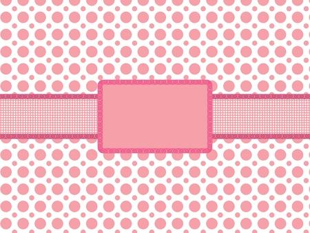 fondo de color rosa de lunares con ilustración vectorial vendimia fiestas marco