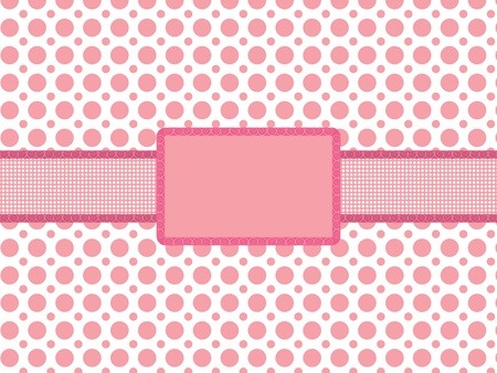 pink polka dot background with vintage holiday frame vector illustration Vector