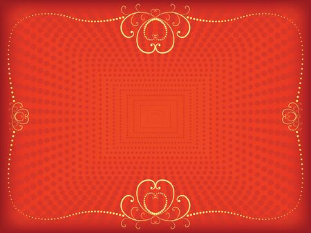 red Valentines Day background  with vintage frame Vector