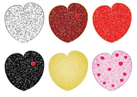 set of valentines made of curves illustration Stock Vector - 15120327