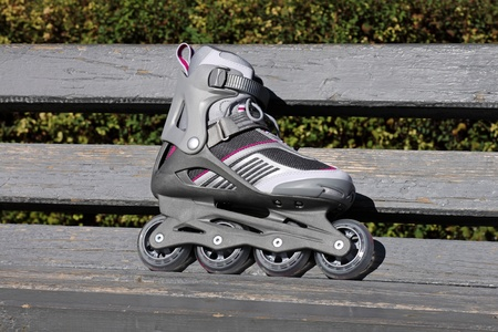 cuff buckle: skate on a bench in park