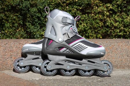 cuff buckle: skates on a road in park