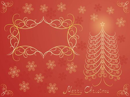red Merry Christmas postcard vector illustration Stock Vector - 15276335