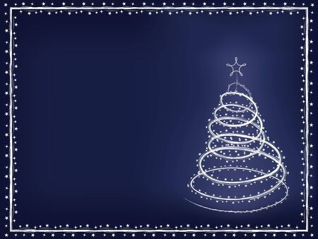 blizzard: blue holiday background with blizzard Christmas tree vector illustration