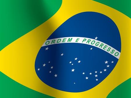 waved: close up of waved flag of Brazil vector illustration