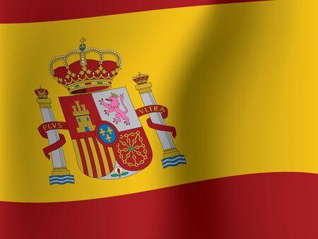 waved: close up of waved flag of Spain vector illustration