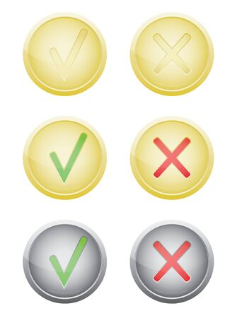 cons: set of vote push buttons vector illustration