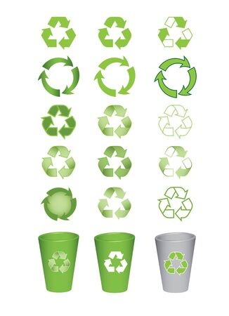 dustbin: set of recycle icons