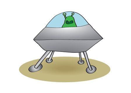 flying saucer: flying saucer with alien vector illustration Illustration
